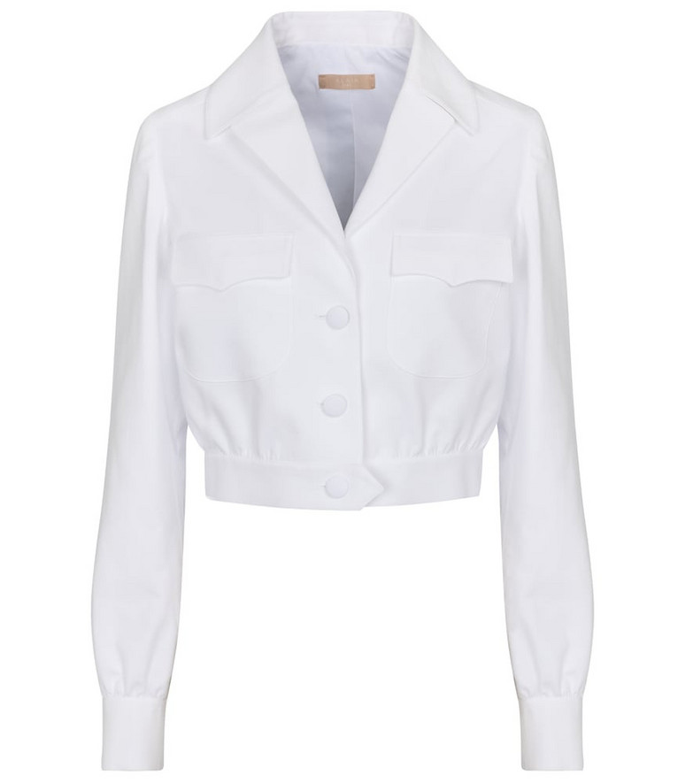 Alaïa Cropped cotton jacket in white
