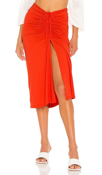 Susana Monaco Gathered Drawstring Midi Skirt in Red in tomato