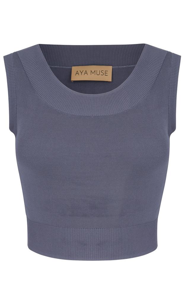 Aya Muse Onyx Knit Cropped Top