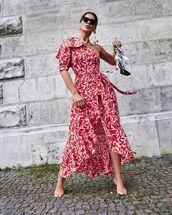 dress,one shoulder,ruffle dress,wrap dress,sandal heels