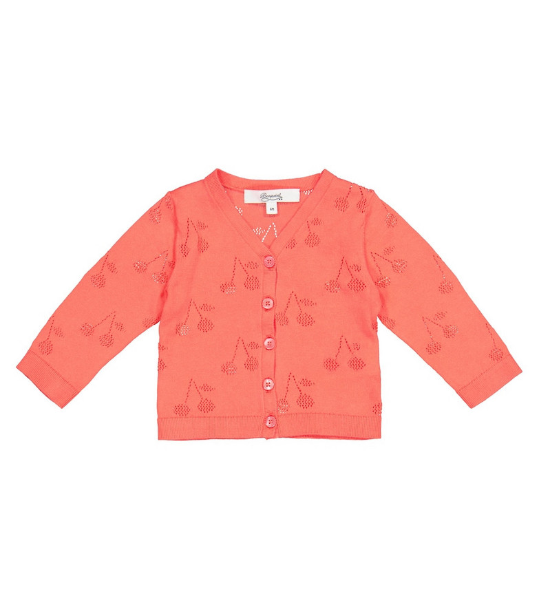 Bonpoint Baby pointelle cotton cardigan in red