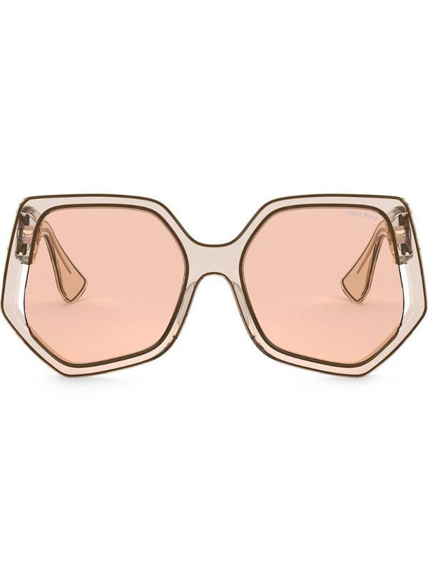 Miu Miu Eyewear La Mondaine oversized-frame sunglasses in brown