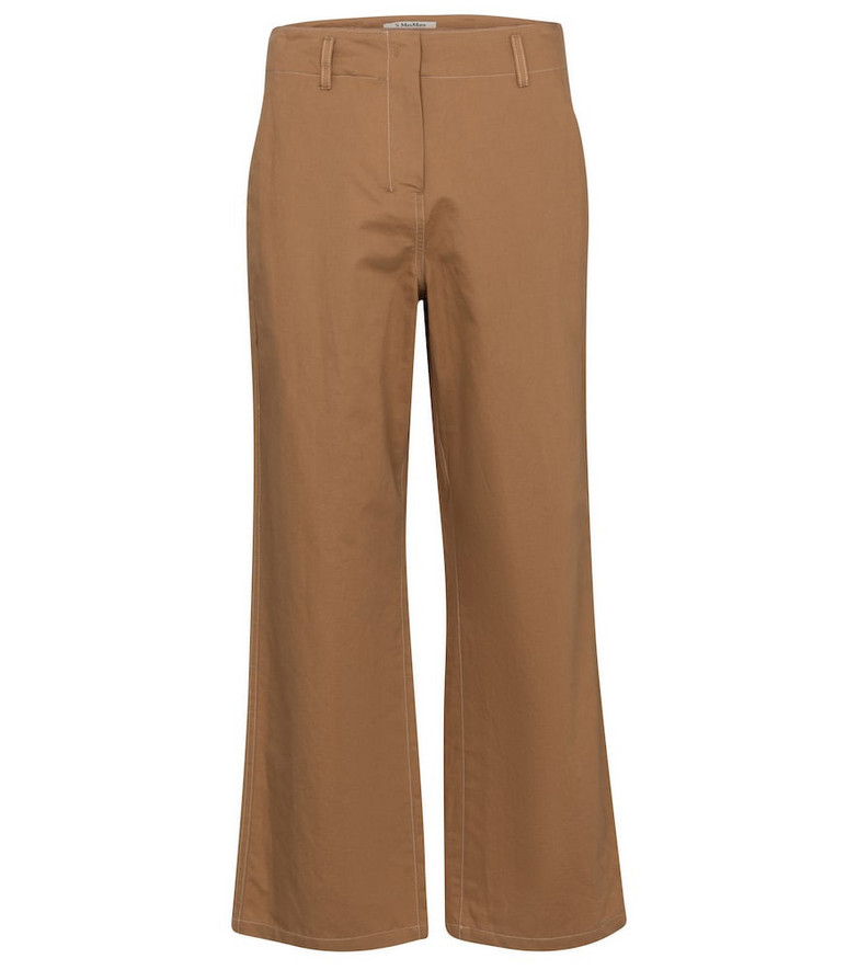 S Max Mara Faesite cropped cotton-blend pants in brown