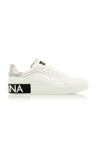 Dolce & Gabbana Metallic Leather-Trimmed Logo Sneakers Size: 36