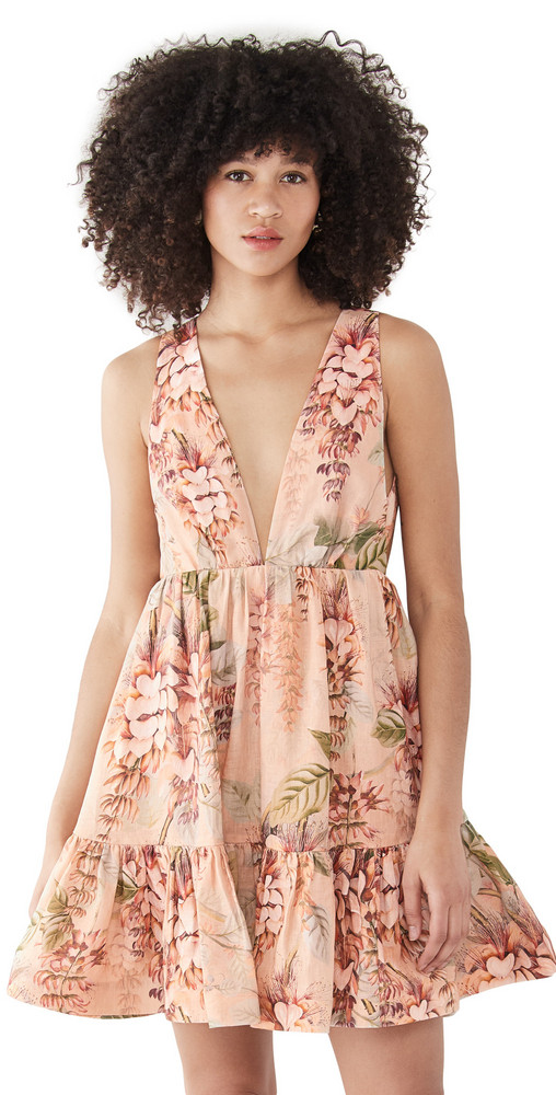 Zimmermann Candescent Plunge Neck Mini Dress in coral / print