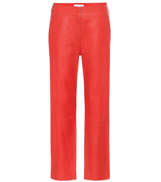 Stand Studio Zoe mid-rise straight leather pants in red