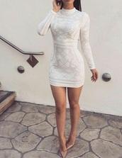 dress,white dress,beautiful,long sleeves,shirt dress