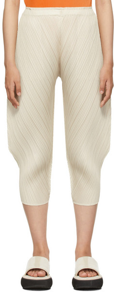 Pleats Please Issey Miyake Beige Leaf & Spice Trousers in ivory
