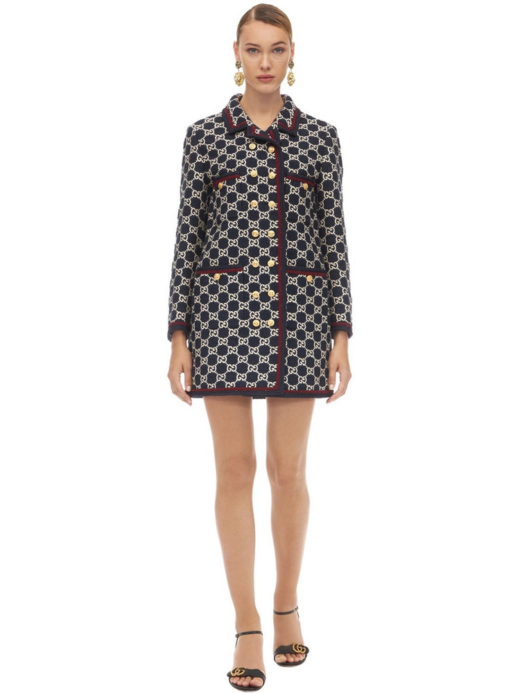 GUCCI Gg Cotton Blend Tweed Coat in blue / multi