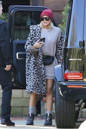 coat,animal print,leopard print,khloe kardashian,kardashians,faux fur coat