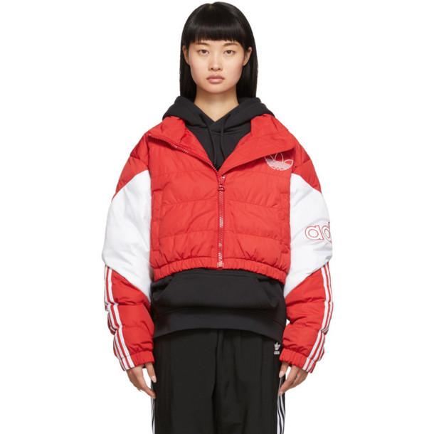 adidas Originals Red Cropped Down Jacket