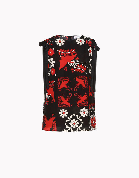 RED Valentino Top With Details On The Shoulder in black