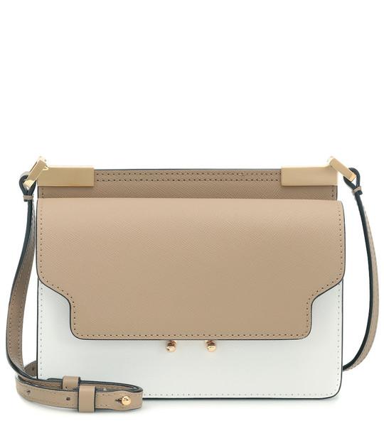 Marni Trunk Micro leather shoulder bag in beige