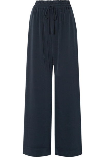 Co - Crepe Wide-leg Pants - Navy