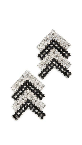 Area Crystal Arrow Earrings in black / silver / clear