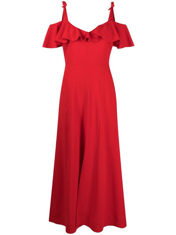 Giambattista Valli off-shoulder ruffled dress in red