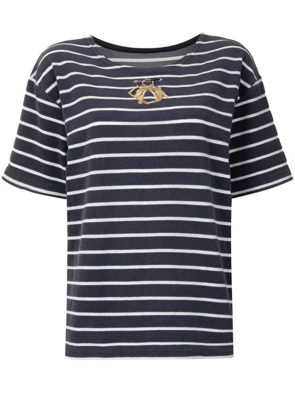 Christian Dior pre-owned embroidered logo striped T-shirt in blue