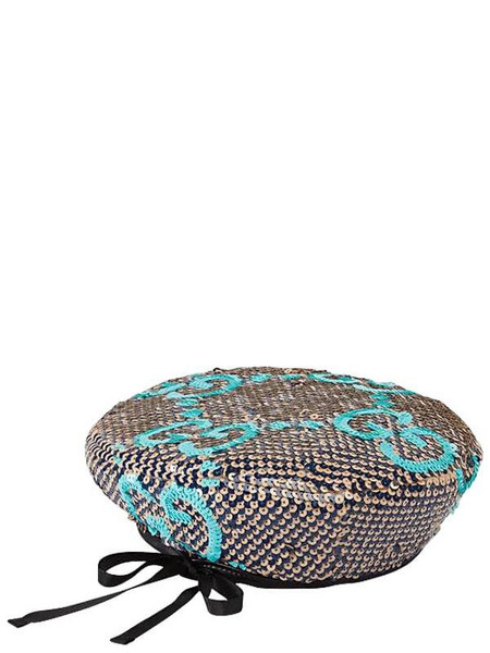 GUCCI Sequined Gg Basco Hat in blue