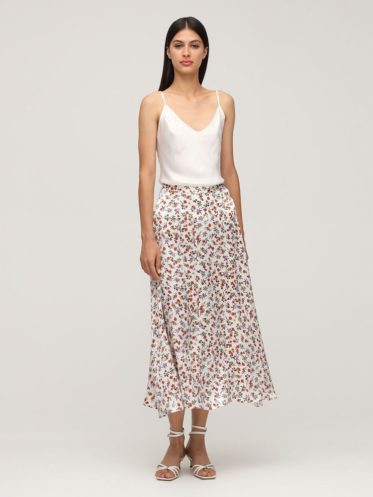 CIAO LUCIA Roma Print Silk Midi Skirt in white / multi