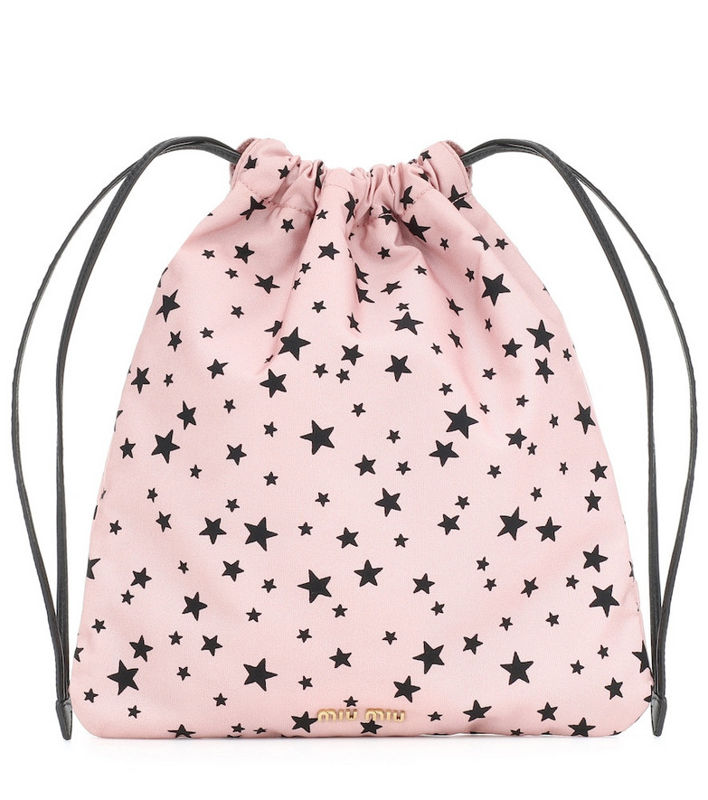 Miu Miu Leather-trimmed drawstring pouch in pink