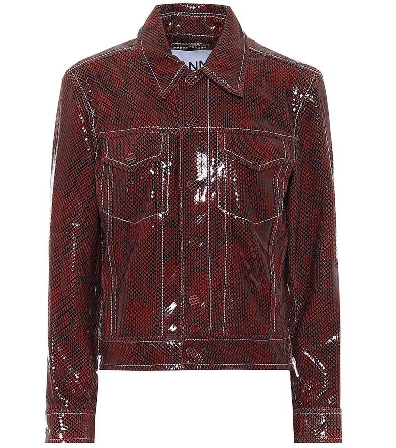 Ganni Snake-effect leather biker jacket in brown