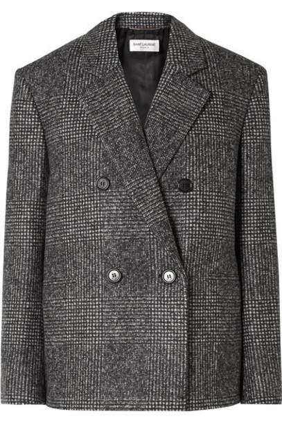 SAINT LAURENT - Checked Wool-blend Blazer - Gray