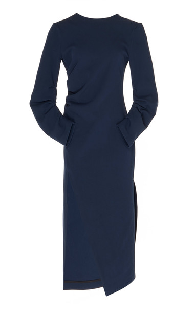 A.W.A.K.E. A.W.A.K.E. Gathered Midi Dress in navy