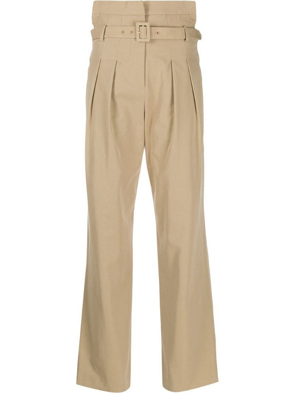 pushBUTTON high-rise belted trousers in neutrals