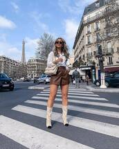 shorts,short,leather shorts,suede boots,white bag,white shirt