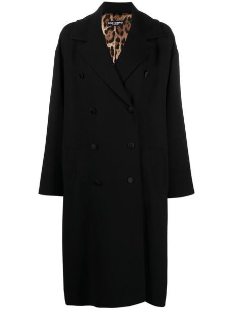 Dolce & Gabbana double-breasted virgin wool-blend coat in black