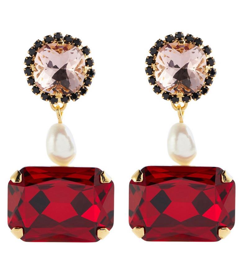 Erdem Crystal earrings with faux pearls in red