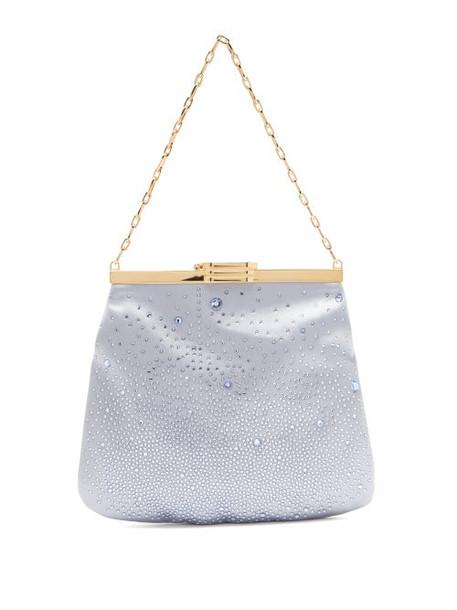 Bienen-davis - 4am Crystal & Satin Clutch Bag - Womens - Light Blue