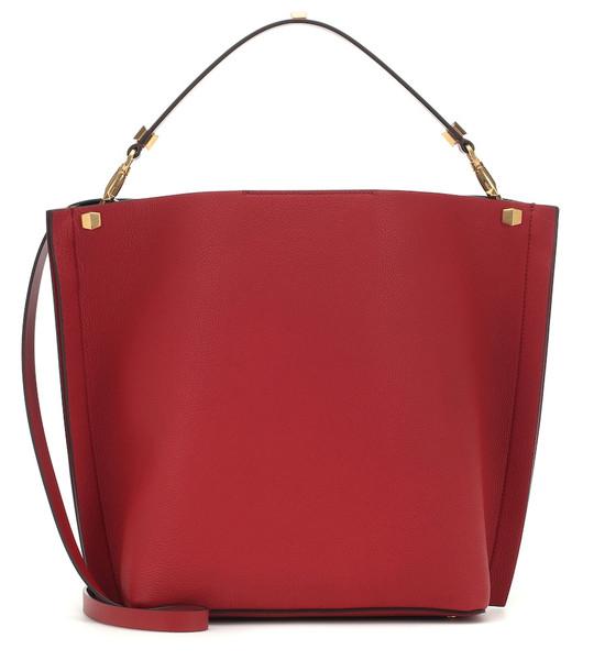 Valentino Garavani VLOGO Escape leather shopper in red
