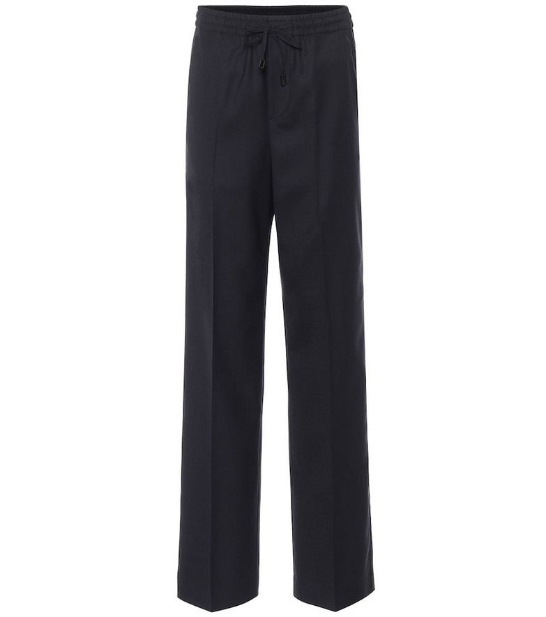 Maison Margiela Wool-blend wide-leg pants in blue