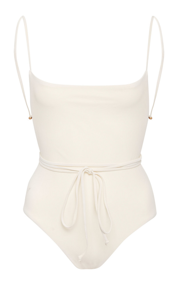 Anemone Open-Back Swimsuit in white