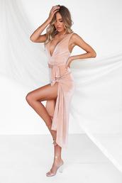 dress,champagne,rose gold,formal,glitter,sparkle,slit,belt,maxi