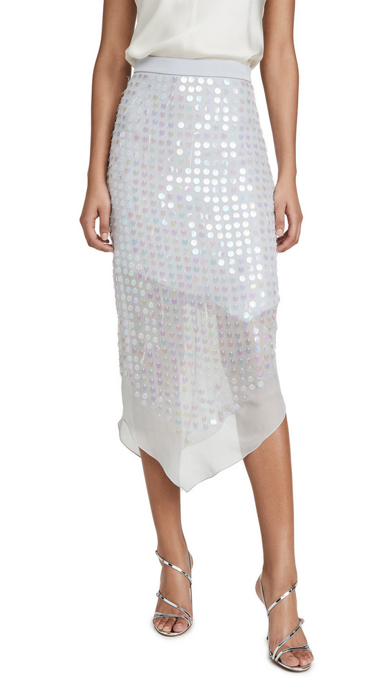 Cushnie High Waisted Sheer Skirt with Iridescent Paillettes in blue