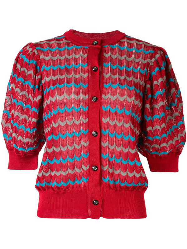 Kolor puffed sleeve cardigan in red
