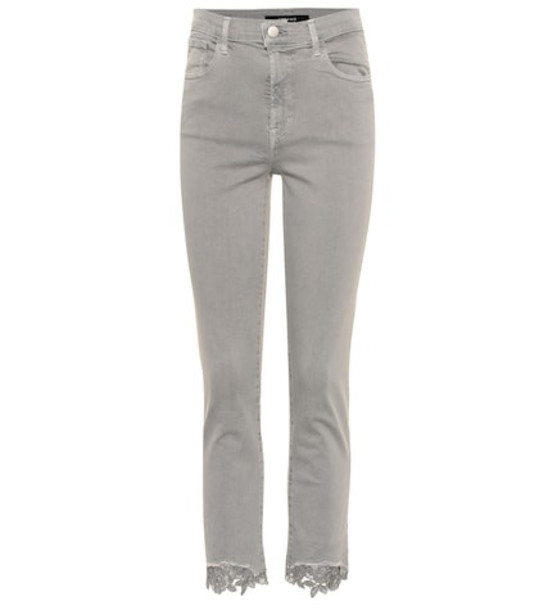 J Brand Ruby cropped high-rise skinny jeans in grey