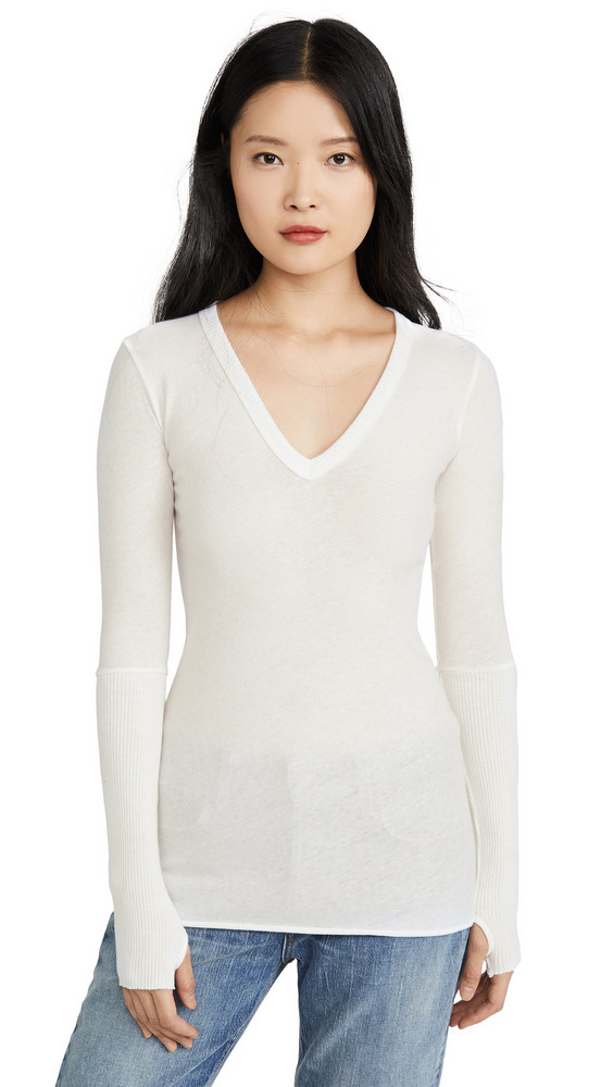 Enza Costa Cuffed V Neck Top in white