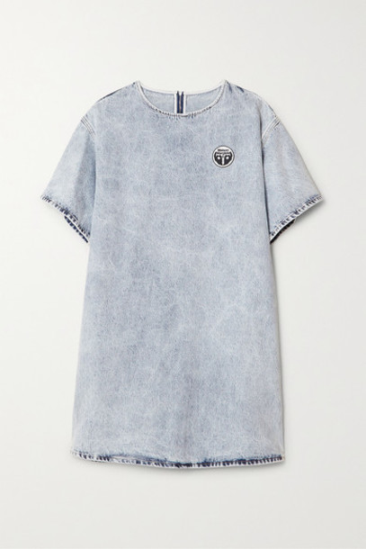 MM6 Maison Margiela - Appliquéd Acid-wash Denim Mini Dress - Light denim