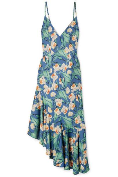 PatBO - Asymmetric Ruffled Floral-print Satin Dress - Blue