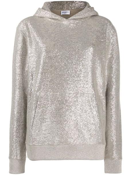 Saint Laurent metallic knit hoodie in silver