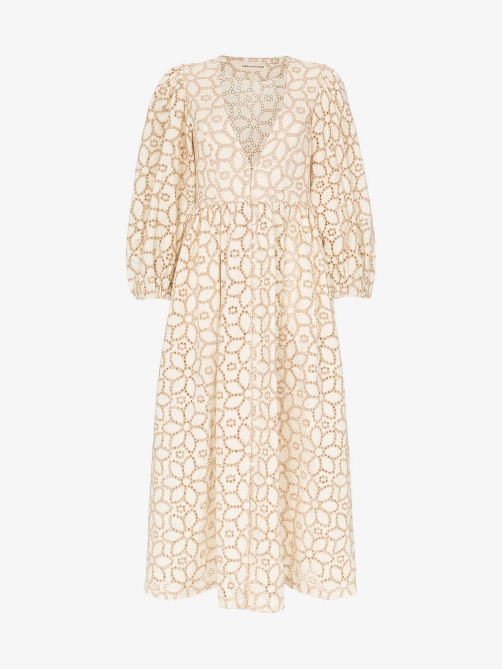 Mara Hoffman Bette floral-embroidered cotton-blend dress in natural / sand