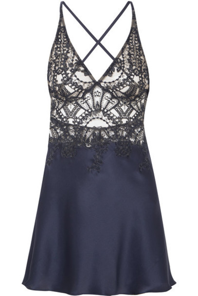 I.D. Sarrieri - Embroidered Tulle And Silk-blend Satin Chemise - Navy