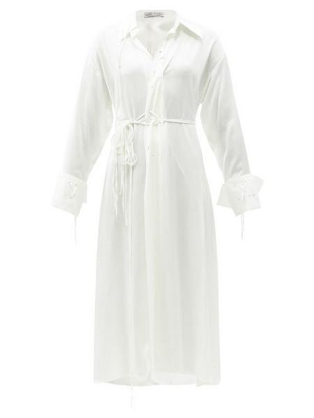 Palmer/harding Palmer//harding - I Love You Braille-eyelet Eco-crepe Shirt Dress - Womens - Ivory