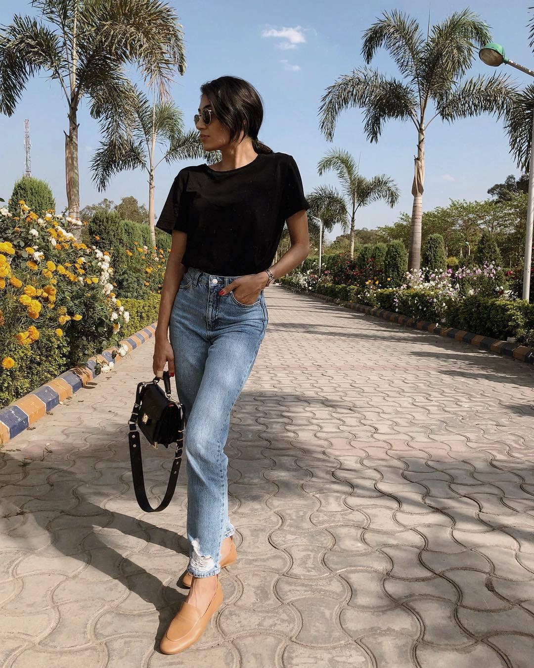 jeans high waisted jeans mom jeans topshop loafers black t-shirt black bag