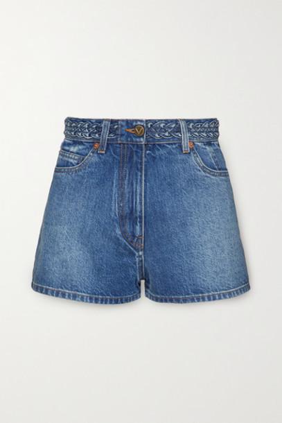 Valentino - Braid-detailed Denim Shorts - Mid denim
