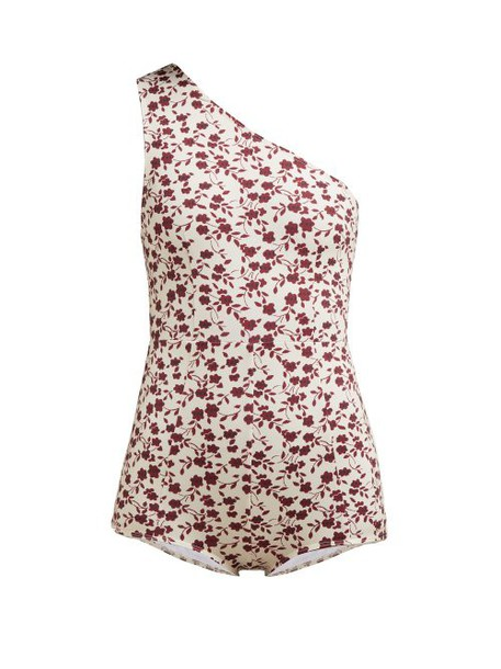 Dodo Bar Or - Galina Floral Print One Shoulder Swimsuit - Womens - Cream Print