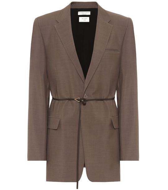 Bottega Veneta Belted wool blazer in brown
